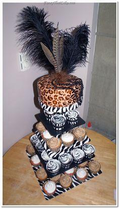 Cheetah and Zebra Print Cupcakes Zebra Print Cupcakes, Cheetah Print Cakes, Leopard Cake, Pink Cupcakes, Pretty Cakes, Cute Cakes, Fondant Cakes, Cupcake Cakes, African Cake