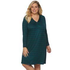 Plus Size Apt. 9® Satin Trim V-Neck Sleep Shirt, Women's, Size:
