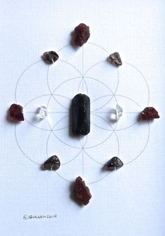HEALING PURIFICATION & BALANCE framed crystal grid SEED OF LIFE