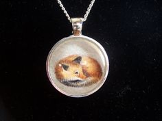 Sleepy fox drawing wearable art pendant wildlife by Ambiart, $10.00