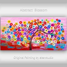 Art Surreal painting Original large  pink multi color circles Fancy Blossom tree Impasto texture oil painting by tim lam 48x24 on Etsy, $358.00