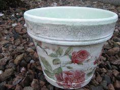 Vintage style decoupaged Terracota pot FrenchShabby