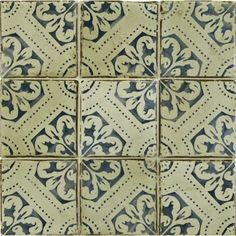 "ANN SACKS  4-5/8"" x 4-5/8"" la spezia 2 decorative tile in royal blue and off white"