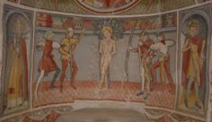 """Main altar in the Cappella San Sebastiano"" (1484). Marmora (Cuneo, Italy). Fresco. At the center the martyrdom of St Sebastian and on the side St Fabian and St Roch."