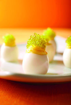 Deviled Quail Eggs    What it lacks in size, the quail egg more than makes up for in flavor; it becomes even more decadent when whipped into a creamy filling. Spicy wasabi caviar balances out the richness and adds a cap of color.