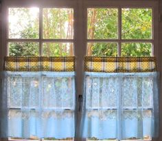 Provence Kitchen Curtains, Aqua and Yellow Curtains, Pair Cafe Curtains, Blue French Lace Curtains, Whimsical