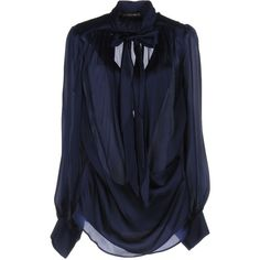 Plein Sud Blouse (1.710 RON) ❤ liked on Polyvore featuring tops, blouses, dark blue, blue top, dark blue top, bow neck blouse, dark blue blouse and blue long sleeve blouse