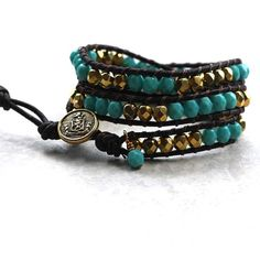 Turquoise and Gold Brown Leather Wrap Bracelet by limefreckle, $45.00