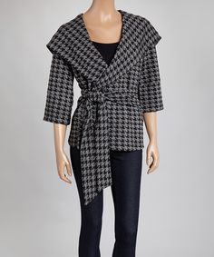 Look at this #zulilyfind! XTaren Black & Gray Houndstooth Wrap Jacket by XTaren #zulilyfinds