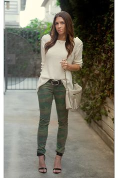 Love these camo leggings...perfectly paired with a cream sweater!  Street style