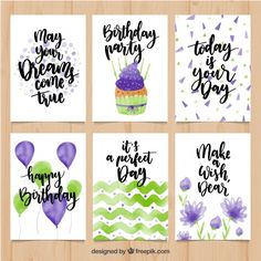 Collection of watercolor birthday cards Free Vector