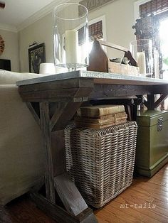 behind couch.. Anna's plan DIY x-base farmhouse console table