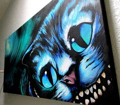 Cheshire+Cat+Commission+Painting++Custom+Order+Canvas+by+SAXONLYNN,+$400.00