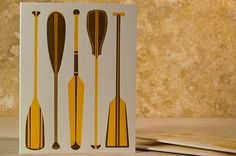 """""""Up Creek"""" Canoe Paddle Letterpress Greeting Card by Rise and Shine Paper"""