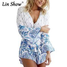 43a830ecc605 LINSHOW Dot Floral Print Women Jumpsuit Vintage Loose Deep V Sexy Beach  Playsuits 2016 Summer Long