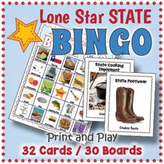 Texas State Symbols Activities - Texas BINGO and Texas Memory Game