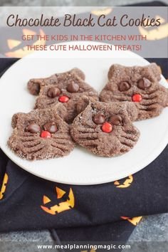 Easy and kid friendly, these Halloween Chocolate Cat Cookies have been a family favorite for decades! With just a few simple ingredients like chocolate cake mix and peanut butter, these are ready to enjoy in no time! #halloweencookie #catcookie #kidfriendlyrecipe #easycookierecipe Chocolate Cat, Halloween Chocolate, Chocolate Cake Mixes, Chocolate Cookies, Chocolate Recipes, Spooky Halloween, Halloween Ideas, Easy Homemade Cookie Recipes, Halloween Cookie Recipes