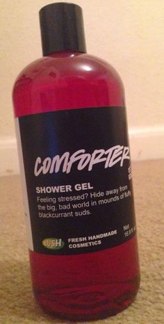 "Comforter Shower Gel: ""Feeling stressed? Hide away from the big, bad world in mounds of fluffy blackcurrant suds"""