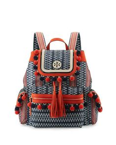 Scout+Nylon+Pompom+Backpack,+Tory+Navy+by+Tory+Burch+at+Neiman+Marcus.