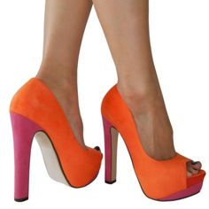 Love these colors together!--purely impractical heel height for someone my height, but they are sassy... :)