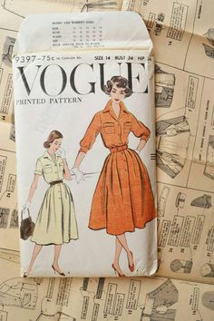 Hey, I found this really awesome Etsy listing at https://www.etsy.com/uk/listing/247783542/vogue-sewing-patterns-9397-50s-dress