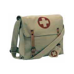 Khaki - Vintage Medic Shoulder Bag w/Red Cross Emblem - Galaxy Army... ❤ liked on Polyvore featuring bags, handbags, shoulder bags, accessories, vintage purses, navy purse, red purse, green purse and navy handbags
