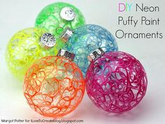 DIY Neon Puffy Paint Holiday Ornaments