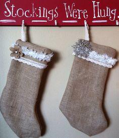 Burlap Christmas Stockings on Etsy, $15.00