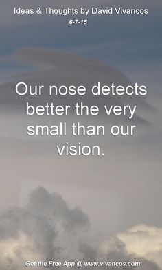 June 7th 2015 Idea, Our nose detects better the very small than our vision. https://www.youtube.com/watch?v=BOYJRCewmxE