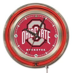 "The 15"" Ohio State Buckeyes Clock features neon accents and is a perfect way to show your Ohio State University pride in your Man Cave, Game Room or Home. A chr"