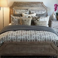 Aria Wood Panel Bed by Classic Home | Wooden Headboard Footboard Frame Panel Complete Bed