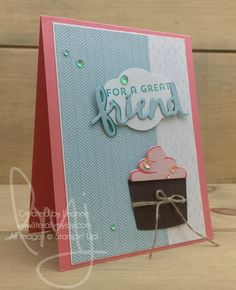 Cupcake for a Friend | Stampin\' Up! | Coffee Cafe | Lovely Inside & Out #literallymyjoy #friends #cupcake #friendship #sequins #powderpink #flirtyflamingo #CoffeeBreakDSP #20172018AnnualCatalog
