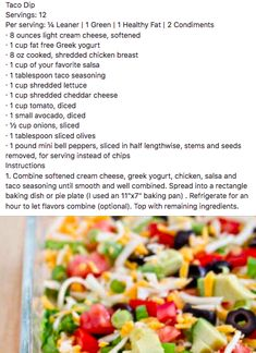 Healthy 7 Layer Dip (Taco Dip) – Optavia Lean and Green – Jennifer Space Healthy Fats, Healthy Snacks, Healthy Eating, Healthy Recipes, Diet Recipes, Recipies, Salad Recipes, Lean Protein Meals, Lean Meals