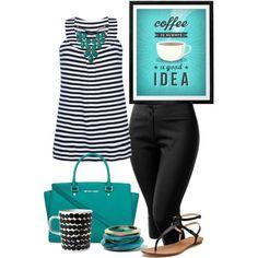 Nautical striped shirt & black capris