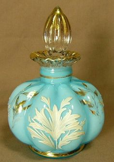 Fenton Glass Blue Melon Rib Perfume Bottle with Gold White Leaves and Trim