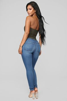 Classic Mid Rise Skinny Jeans Medium Blue Wash - Women Jeans - Ideas of Women Jeans - Classic Mid Rise Skinny Jeans Medium Blue Ripped Jeggings, Ripped Skinny Jeans, Mid Rise Skinny Jeans, Black Skinnies, Black Pants, Cute Jeans, Sexy Jeans, Mom Jeans, Women's Jeans