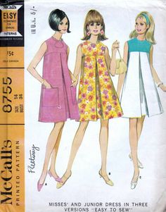 60s dress sewing pattern, McCalls 8755, Bust 34 inches, knee length pleated dress, sleeveless, back zipped dress.   Misses and Junior Dress in Three