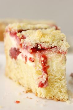 Strawberry Cream Cheese Filled Coffee Cake with Crumb Topping