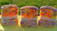 Rise and Shine Cold Process with Melt and pour swirled within. This soap is made with Coconut,Avacado,Sweet Almond, Palm and Olive Oils and Mango,Shea and CocoButter. Lakehurst Farms on Facebook and on Etsy.