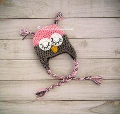 Baby owl hat, crochet owl hat, Owl hat, owl beanie, sleepy owl hat, baby girl owl hat, newborn owl hat, infant owl hat, crochet owl beanie by Amaiahandmade on Etsy