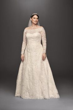 Oleg Cassini's Off-the-Shoulder Gown for David's Bridal ($1,458) is perfectly romantic in ivory.