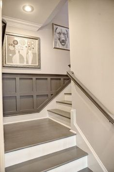 Favorite Things Friday Staircase Detail – Gray Painted Stairs and Railing, Gray Wainscoting. Favorite Things Friday Staircase Detail – Gray Painted Stairs and Railing, Gray Wainscoting. Home, Painted Stairs, Basement Stairs, Home Remodeling, Bathrooms Remodel, Basement Bedrooms, Basement Decor, Basement Design, Wainscoting Styles