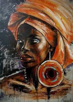 Black Art Painting, Woman Painting, Acrylic Paintings, Painting Abstract, Acrylic Painting Inspiration, Pastel Paintings, Abstract Portrait, Portrait Art, Portrait Paintings