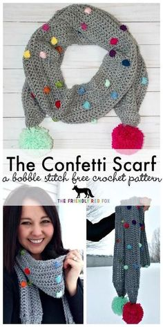 Crochet Scarf Design Free Crochet Pattern Confetti Scarf with Bobble Stitch - The Friendly Red Fox This fun popcorn stitch scarf is a great way to use up scraps and the fun pom poms add the perfect touch! Poncho Crochet, Bobble Stitch Crochet, Crochet Scarves, Crochet Clothes, Crochet Stitches, Crochet Baby, Free Crochet, Knitting Scarves, Crochet Geek