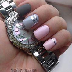 New nails art gel tutorial watches Ideas Latest Nail Art, New Nail Art, Gray Nails, Pink Nails, Fabulous Nails, Perfect Nails, Nail Art Designs, Classy Nail Art, Nailart