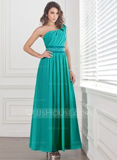 A-Line/Princess One-Shoulder Ankle-Length Chiffon Charmeuse Prom Dress With Ruffle Beading (018004855)