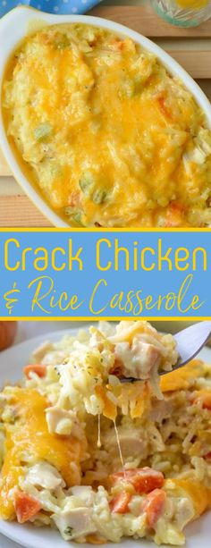 Dinner doesn't get much better than this cheesy and delicious comfort food casserole! It's packed with carrots, green pepper and onion and uses easy ingredients like rotisserie chicken, any flavor rice a roni, sour cream and cream soup! So quick, easy and affordable! Cream Of Chicken Soup, Crack Chicken, Cream Soup, Chicken Caseroles, Crispy Cheddar Chicken, Chicken Gravy, Chicken Cordon, Stuffed Chicken, Butter Chicken