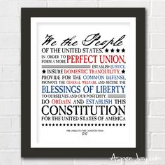 FREE patriotic printable of the preamble to the Constitution makes for quick and meaningful decorating for the 4th of July! Download your copy!