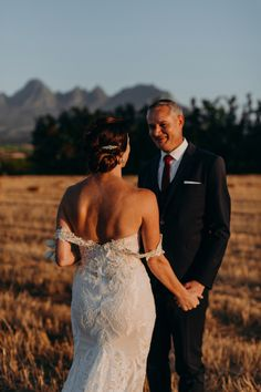 Beautiful lace details on this Gown for a summer wedding on a wine farm in South Africa. Isn't it just the perfect wedding dress for a modern bride? South African Weddings, Perfect Wedding Dress, Summer Wedding, Wedding Photos, Gowns, Wine, Couples, Wedding Dresses, Modern