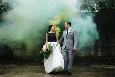 Modern, edgy, artistic, and all-around cool wedding // Smoke bomb wedding portrait